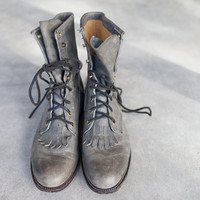 Vintage Justin Lacer Boots, Justin Grey Leather Women's Boots, Women's Distressed Grey Leather Size 7 1/2 Roper Boot, 7.5 Lace-Up Boots
