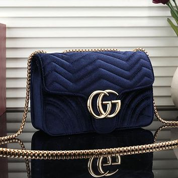GUCCI Women Velvet Fashion Chain Crossbody Shoulder Bag Satchel