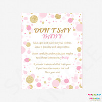 Don't Say Baby, Printable baby shower games, baby shower sign, 8x10, pink gold, baby shower instant download, baby girl, decor CB0003-pg