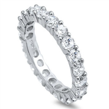 The Duchess, A Perfect 6.4TCW Solitaire Cut Russian Lab Diamond Wedding Bands Eternity Infinity Ring