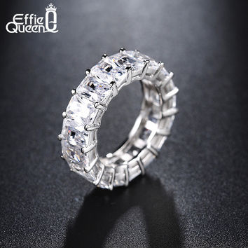 Effie Queen 2017 Row Eternal Crystal Jewelry Wedding Ring Clear color Fashion Rings for Women Free Shipping Jewelry DR146