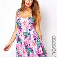ASOS Curve | ASOS CURVE Skater Dress In Summer Blurred Floral at ASOS