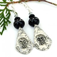 Goth Skull Earrings, Pewter Black Lampwork Halloween Day of the Dead Handmade Jewelry