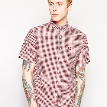 Fred Perry Laurel Wreath Shirt in Gingham with Short Sleeves in Acid N