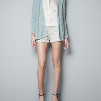 NWT ZARA CARDIGAN WITH LACE DETAILS GREEN SWEATER SIZE S