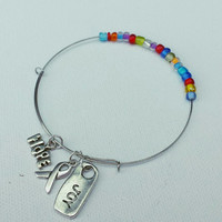 Autism Awareness Wire Bangle - Adjustable Bracelet - Wire Wrapped Bangle - Autism Jewelry - Autism Bracelet - Gifts for Mom
