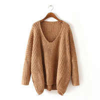 Casual Sweater Women's Fashion  Winter V Neck Pullover Needles Tops  [9857558607]