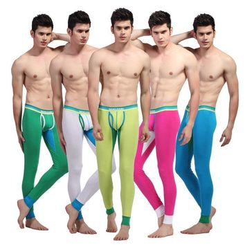 WJ brand 2017 winter new Men's fashion WARM long johns cotton thermal underwear long underpants high quality 9 colors