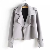 Long-Sleeve Notched Suede Leather Blazer