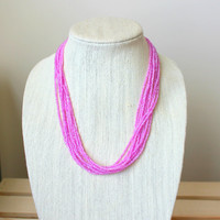 Lavender Pink Seed Bead Necklace.  Multistrand Seed Bead Necklace. Beaded Necklace. Pink Seed Bead Necklace. Purple Seed Bead Necklace
