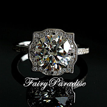 Gorgeous 2 Ct Round Cut lab made Diamond Halo Set Engagement Wedding Cocktail Ring with gift box- made to order ( FairyParadise )