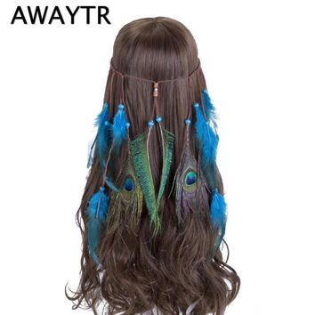 AWAYTR Pastel Feather HeadBand Hippie Bohemian Indian Feather Head Band Women Blue Feathers Hippy Indie Hair Accessories