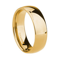 6MM 18k Yellow Gold Polished Comfort Fit Dome Titanium Wedding Ring Band