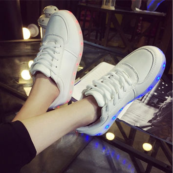 Unisex LED Light Lace Up Luminous Shoes Sportswear Sneaker Luminous Casual Shoes [7958554119]