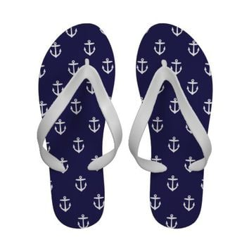 Navy Blue Cute Anchors Flip-Flops from Zazzle.com