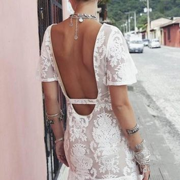 White Floral Embroidery Flutter Sleeve Backless Dress