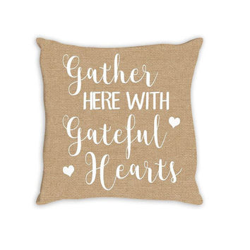 FALL Thanksgiving Gather Here Grateful Personalized PILLOW Custom THROW Pillow with Insert or Pillow Sham Case Size Home Decor Housewarming