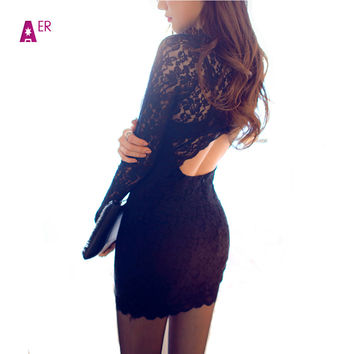 Sexy Women Bodycon Black Lace Backless Long Sleeve Evening Party Dress Blusas