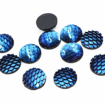 New Fashion 40pcs 12mm Ice Blue Colors Fish Scale Style Flat back Resin Cabochon For Bracelet Earrings accessories -F2-77