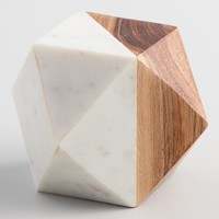 Wood and Marble Geometric Paperweight