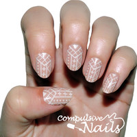 Nail decal wraps. Nude Hidden Tribal Nail Art. Nail Polish Strips