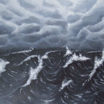 Original Seascape Painting Stormy Sea Acrylic by ABFoleyArtworks