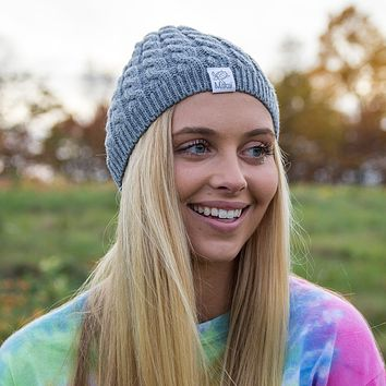 Heather Grey Cable Knit Beanie