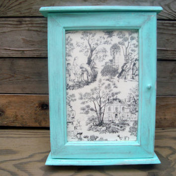 Aqua Painted Key Organizer with French Toile Paper, Sea Glass Painted Wooden Key Box, Shabby Chic Key Box, French Cottage, Up Cycled Key Box