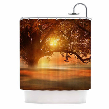 "Viviana Gonzalez ""Romance In Autumn"" Orange Gold Shower Curtain"