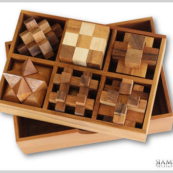 Game Puzzle Box, Wooden Puzzle Set, 6 Puzzles in a Wooden Box, Wooden Games, Kids Puzzles, Christmas Gifts