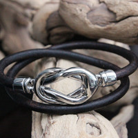Leather Bracelet Double Wrap Silver Two Piece Knot Clasp Summer Trends May Finds May Gifts Mothers Day