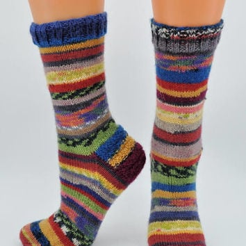 Cute hand knitted scrappy socks made from cozy wool
