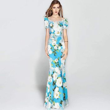 Strapless Blue Lace 3D Flower Runway Maxi Dress Women's Floral Print Mermaid Long Dress