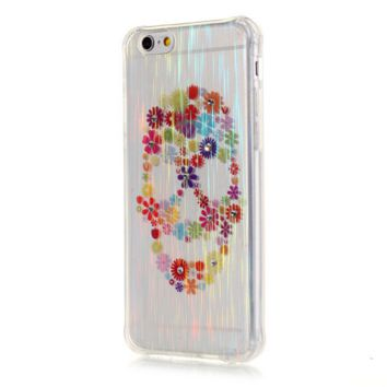TPU wire drawing Color flower skull Phone Case Cover for Apple iPhone 7 7 Plus 5S 5 SE 6 6S 6 Plus 6S Plus + Nice gift box! LJ161006-005