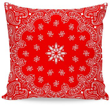 ROCP  Red Bandana Couch Pillow