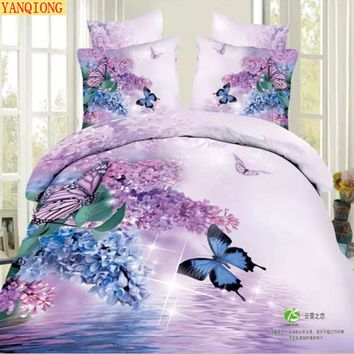 The king size 3d series 100% cotton reactive printing bedding set 4pcs include pillowcase duvet cover bed sheet fast shipping