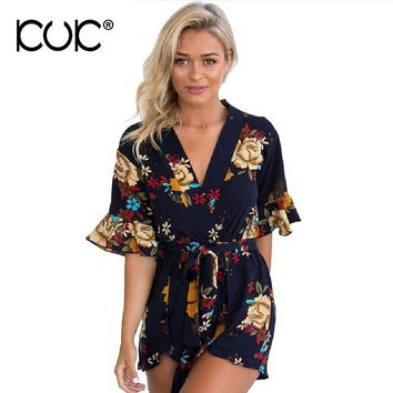 Kuk Playsuit Women Casual V-Neck Loose Bohemian Boho Hippie Floral Romper Summer Jumpsuit Short Overalls A097