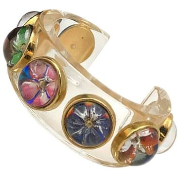 Vintage CHANEL plastic bangle bracelet with colorful flower bubble resin.