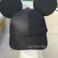 """Mickey Mouse Inspired Ears - Black Baseball Cap for guys/boys - Add name optional   Original """"Ear Perfection"""" Stay Up Ears!"""