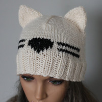 Hat Cat.Ladies beanie ''White Cat''! Hand knitted, seamless.Knit black Hat Cat Ears Hat Cat.