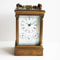 Antique French Large Carriage Clock - Full Calendar - Striking and Alarm - Center Second Clock with Enamel Paintings