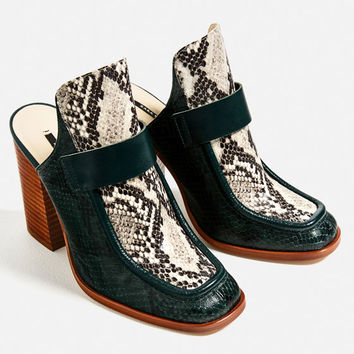 CONTRAST LEATHER HIGH HEEL MULES DETAILS