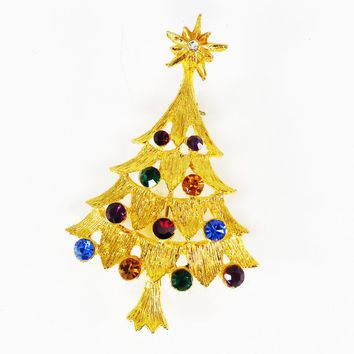 Rhinestone Christmas Tree Brooch Vintage 19980s 1990s with Red, Green Blue Rhinestones on Gold Tone Winter Holiday Jewelry