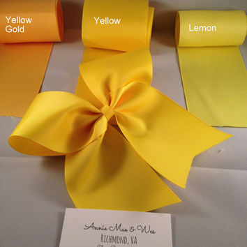 Cheer Bow - Solid Yellow - Three Shades Yellow Gold, Yellow, Lemon