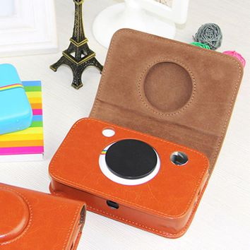Besegad Retro PU Leather Waterproof Storage Carry Bag Case Cover for Polaroid Snap Instant Print Digital Camera Brown