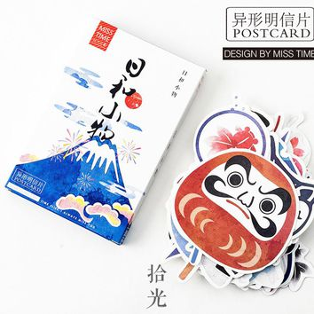 30 pcs/lot Novelty Heteromorphism Japanese style mask fan postcard greeting card christmas card birthday card gift cards
