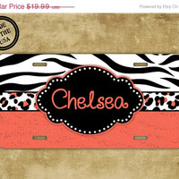 SALE Perrsonalized monogrammed license plate Zebra license plate,monogram car tag - Zebra print with coral and black personalized  (9976)