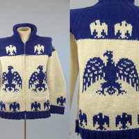 50s Cowichan Sweater / Thunderbird Chunky Knit Northwestern Native American Shawl Collar Hand Knit Sweater