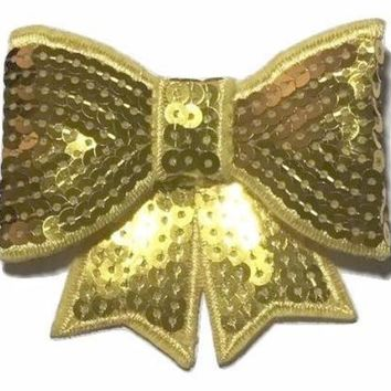 "Yellow JUMBO 3"" sequin bow"