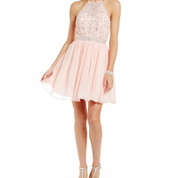 B. Darlin Halter Beaded Illusion Bodice Party Dress | Dillards